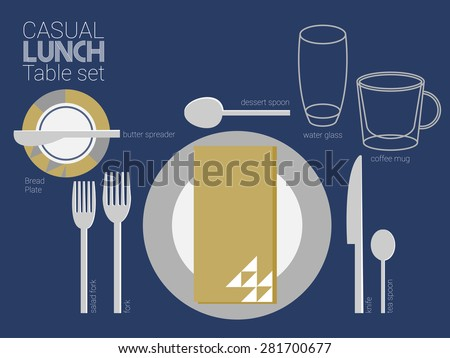 LUNCH TABLE SETTING Cool modern style is a main theme for this table setting and needed tableware  are all set for lunch place setting. - stock vector