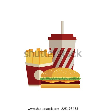 Lunch with french fries, hot dog and soda takeaway on isolated background. Fast food. Flat design. Vector Illustration - stock vector