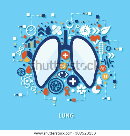 Lung concept design on blue background,clean vector - stock vector