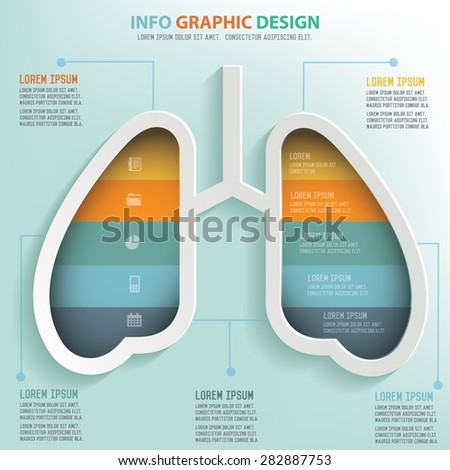 Lung info graphic design, Business concept design. Clean vector. - stock vector