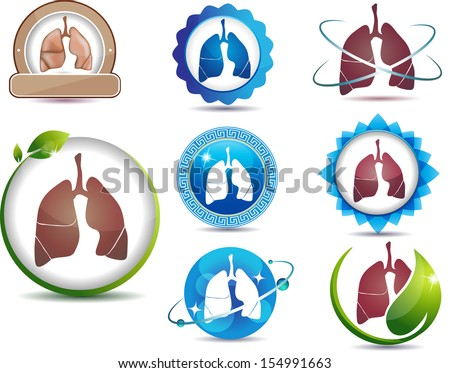 Lungs. Great collection of lungs symbols. Lungs health care concept.  Bright and bold design.  - stock vector
