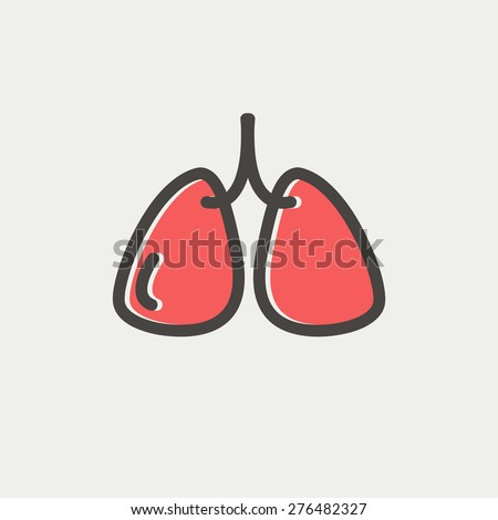 Lungs icon thin line for web and mobile, modern minimalistic flat design. Vector icon with dark grey outline and offset colour on light grey background. - stock vector