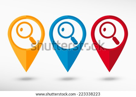 Lupe map pointer, vector illustration. Flat design style - stock vector