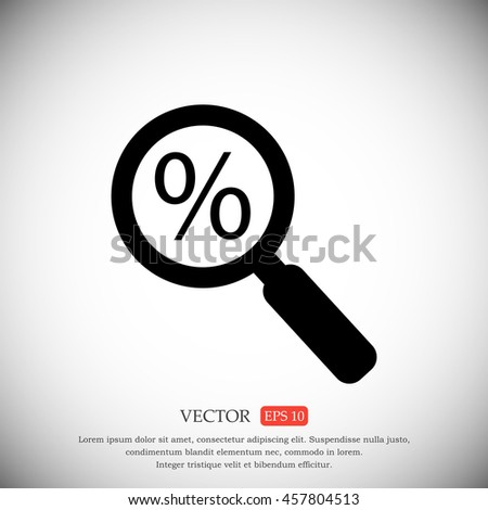 Lupe. Search discount, percent, icon - stock vector