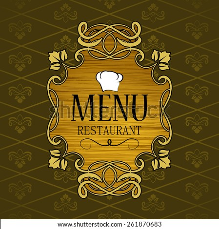 luxurious decoration of the first page of the restaurant menu, vintage ornate design - stock vector