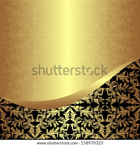Luxurious golden ornamental Background with black Border - stock vector