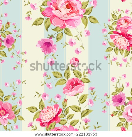 Luxurious peony wallpaper in vintage style. Vector illustration. - stock vector