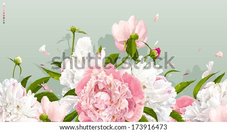 Luxurious pink and white peonies background with leaves and buds - stock vector