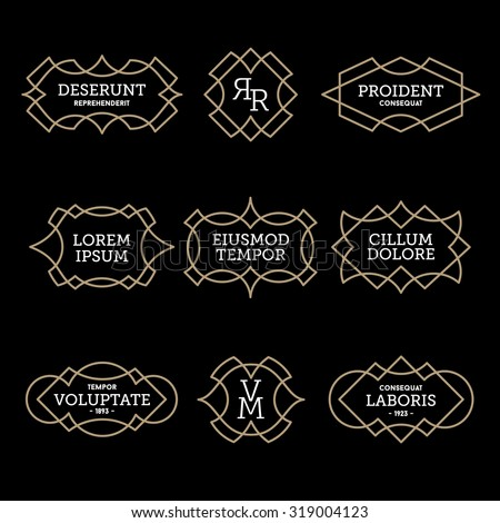 luxury antique vintage monochrome art deco old hipster minimal geometric linear vector frame , border , label  for your logo, badge or crest for club, bar, cafe, restaurant, hotel, boutique - stock vector