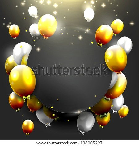 Luxury background with gold and silver balloons on black background - stock vector