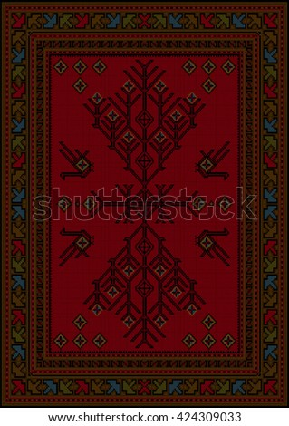 Luxury carpet with ethnic patterned tree and birds in the center on a red background - stock vector