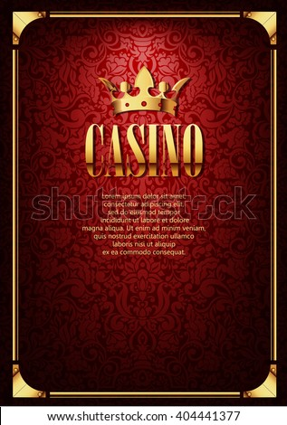 Luxury Casino Gambling Background with Golden Crown. Vector golden casino gambling border with crown on red casino background. Vector flyer illustration. Casino gambling background. Casino design. - stock vector