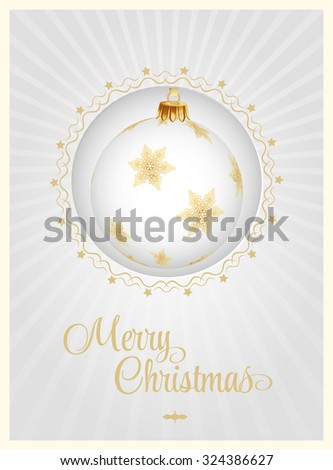 Luxury Christmas card white background with vintage ball. Vector Illustration. - stock vector