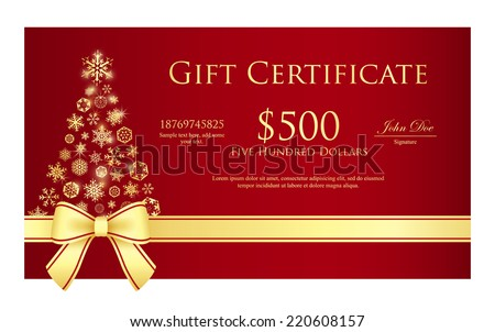 Luxury Christmas certificate with Christmas tree composed from snowflakes - stock vector
