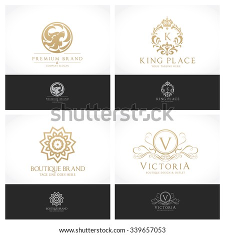 Luxury crests collection,Gold crest,lion logo,beauty logo,hotel logo set,real estate logo,law logo,lawyer logo,dragon crest,horse logo,boutique brand,crown logo,fashion logo,full vector logo template - stock vector
