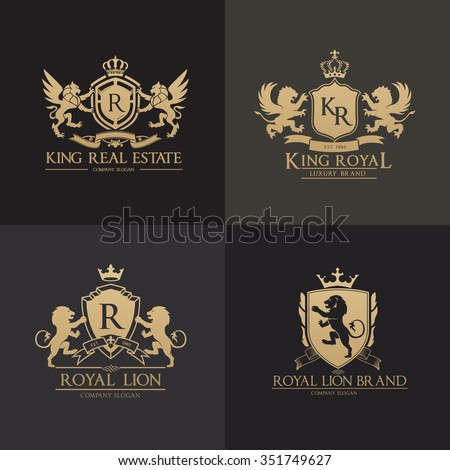 Luxury Crests logo set.lion logo collection,king logo,vector logo template - stock vector