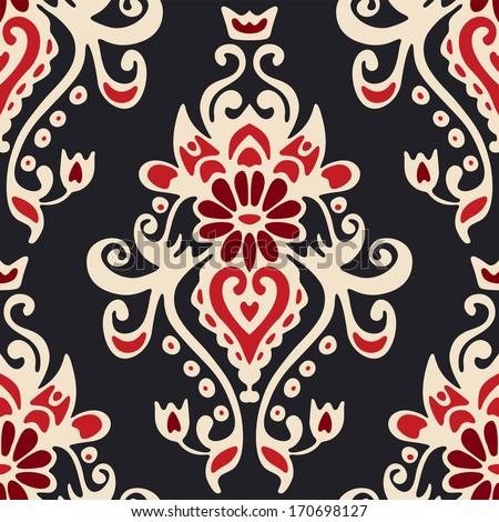 Luxury Damask seamless tiled motif vector pattern - stock vector