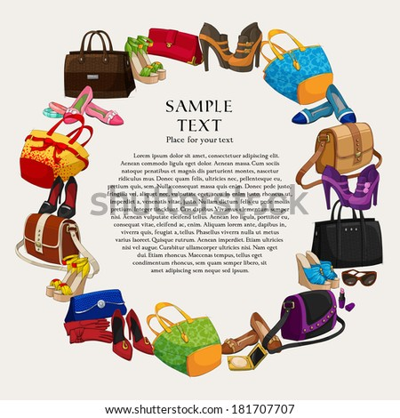 Luxury fashion shopping frame background with women shoes bags and accessories vector illustration - stock vector