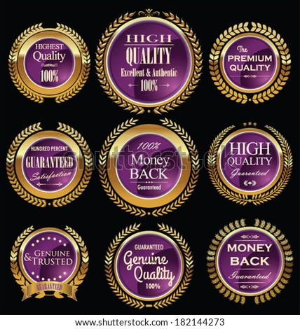 Luxury gold and purple labels with laurel wreath - stock vector