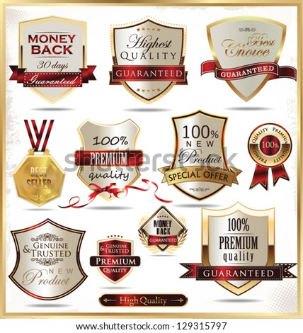 Luxury gold and red shields - stock vector