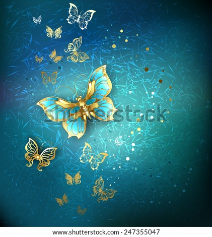 luxury gold butterflies on a blue textural background.  - stock vector