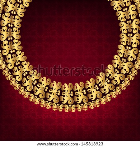 Luxury gold frame on a burgundy background - stock vector