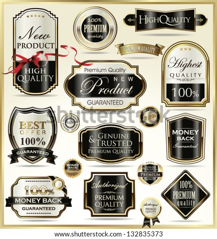 Luxury golden labels - stock vector