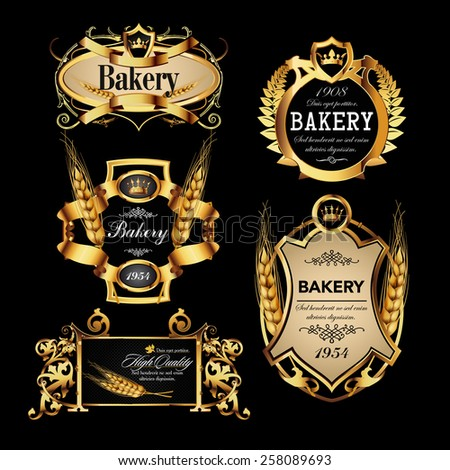 Luxury golden set of bakery label designs. Vector illustration - stock vector