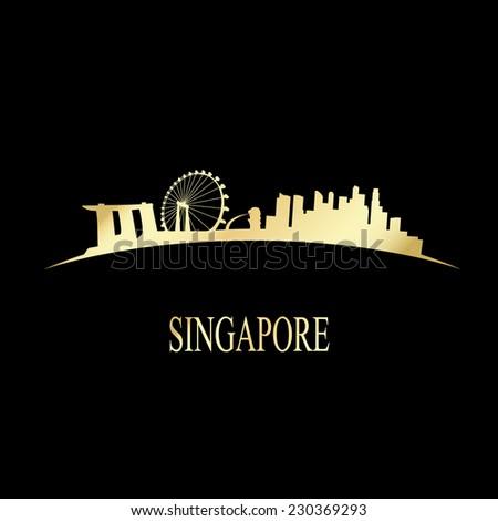 Luxury golden Singapore skyline - vector illustration - stock vector