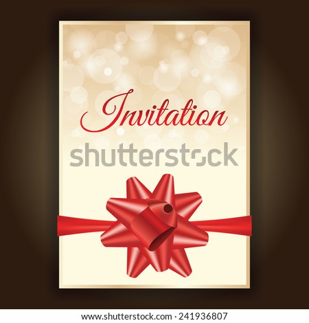 Luxury invitation card with red bow and gold background, vector - stock vector