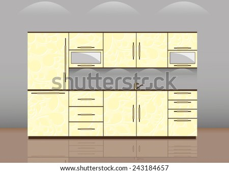 Luxury kitchen room interior with bright wooden texture cabinets and drawers with sink and faucet. beige tiles on wall. Realistic design. vector art image illustration - stock vector