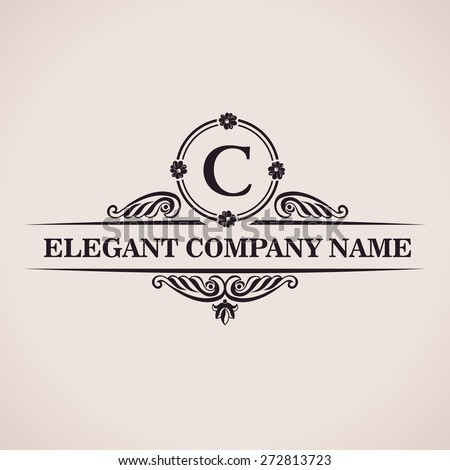 Luxury logo. Calligraphic pattern elegant decor elements. Vintage vector ornament C - stock vector