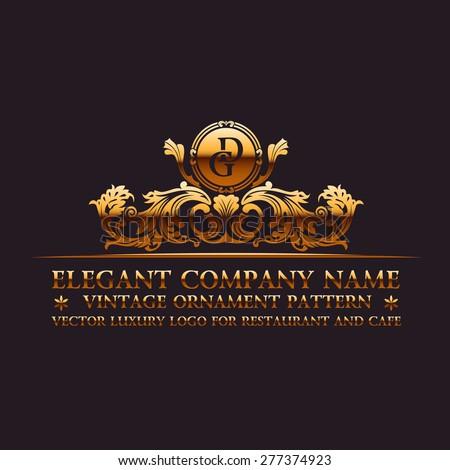 Luxury logo. Calligraphic pattern elegant decor elements. Vintage vector ornament gold - stock vector