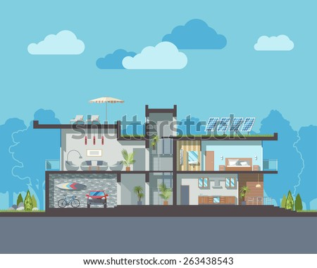Luxury modern residential two-storied house vector section with detailed furnished rooms interior.Minimalistic eco-friendly architecture reusing energy and reserving nature resources flat illustration - stock vector