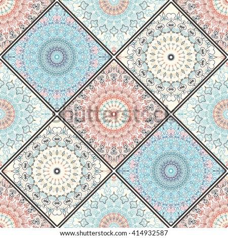 Luxury oriental tile seamless pattern. Blue pink floral patchwork background. Mandala boho chic style. Rich flower ornament. Square design elements. Portuguese moroccan motif. Unusual flourish print. - stock vector