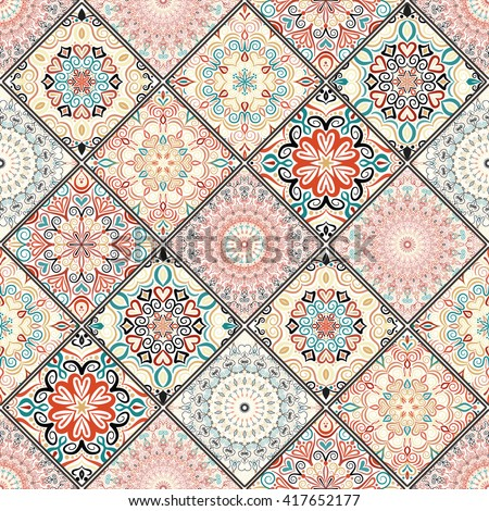Luxury oriental tile seamless pattern. Colorful floral patchwork background. Mandala boho chic style. Rich flower ornament. Square design elements. Portuguese moroccan motif. Unusual flourish print. - stock vector