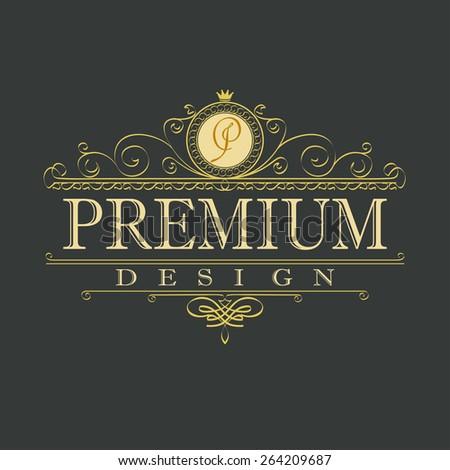 luxury ornament floral design logo, decorative template, heraldic, business, fashion sign - vector element - stock vector
