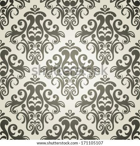 Luxury ornamental floral wallpaper, monochrome - stock vector
