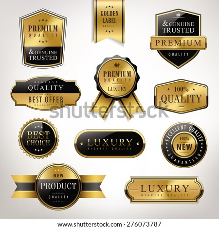luxury premium quality golden labels collection over pearl white background - stock vector