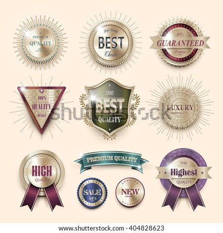 luxury premium quality labels collection over pearl pink background - stock vector