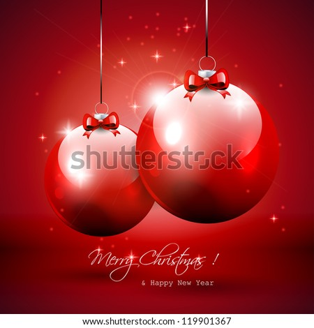 Luxury red Christmas background with baubles - stock vector