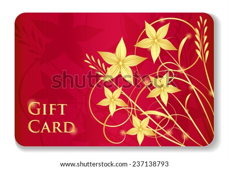 Luxury red gift card with golden swirls and flowers - stock vector