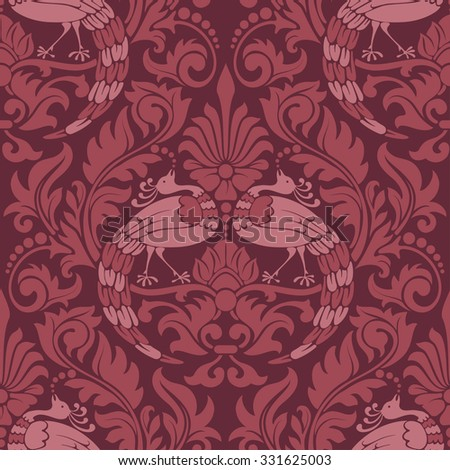Luxury seamless pattern in trendy damask style. Rich vintage ornamentation with bird peacock and floral elements. Vector illustration. - stock vector