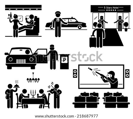 Luxury Services First Class Business VIP Stick Figure Pictogram Icons - stock vector