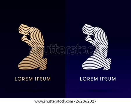 Luxury  Silhouette of Prayer , Pray sign, designed using gold and silver cycle line, logo, symbol, icon, graphic, vector. - stock vector