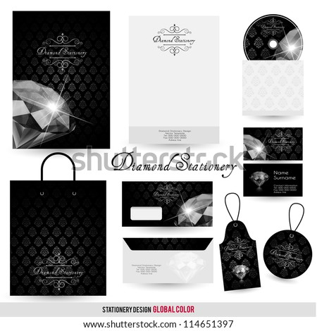 Luxury stationery design with diamond and ornate background - stock vector