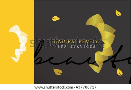 LUXURY VECTOR LOGO / ICON DESIGN OF A WOMAN'S FACE WITH GOLDEN LEAFS    - stock vector