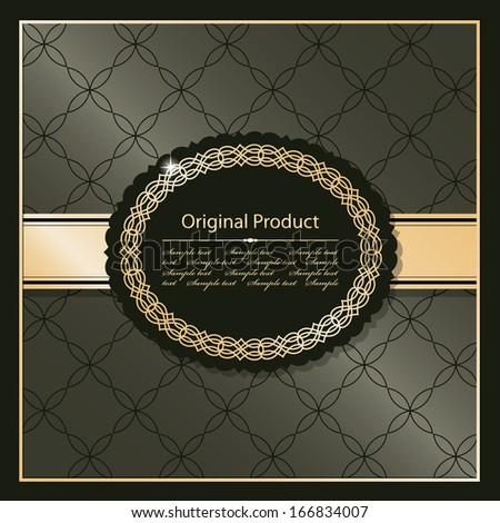 Luxury vintage frame on abstract background in golden and chocolate brown colors. Vector illustration.  - stock vector