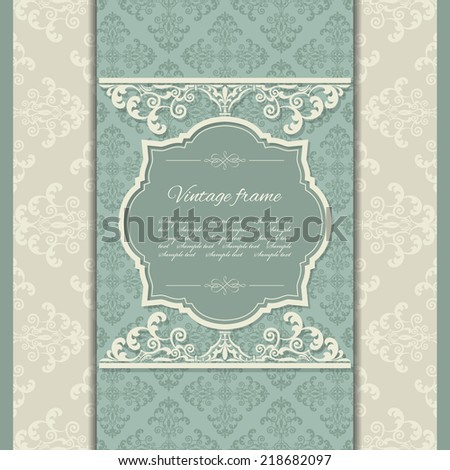 Luxury vintage frame on damask background. Venetian royal style. - stock vector