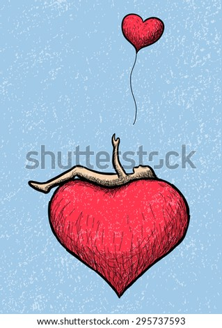 lying above the heart - stock vector